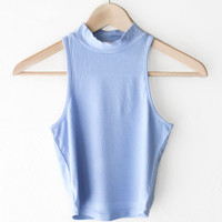 High Neck Ribbed Crop Top - Light Blue