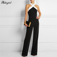 Elegant Fashion Sexy Halter Neck Jumpsuits Ladies Loose Slim Casual Party Overalls Long Pants Women Plus Size Night Club Rompers