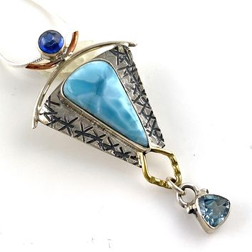 Larimar, Blue Topaz & Kyanite Sterling Silver Three Tone Pendant