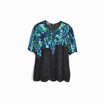 Vintage 80s Sequin Swirl Party Top / Black & Aqual Silk Sequined Blouse - women's medium