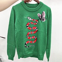 GUCCI Fashion new embroidery snake butterfly women long sleeve top sweater Green