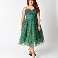 Unique Vintage 1950s Emerald Ruffled Tulle Cupcake Swing Dress
