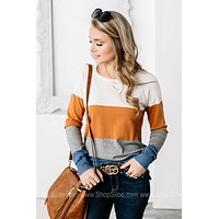 Nadia Colorblock Cozy Sweater | Camel