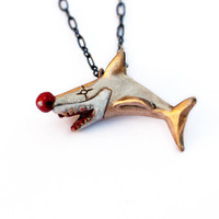 Sharky the clown. Shark disguised as a clownfish pendant necklace