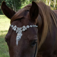 Faux Diamond Browband for Pony, Horse or Draft - Equine Bling Tack Brow Band Jewelry - Christmas Horse Lover Gift