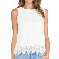 Alice + Olivia Anya Embroidered Tank Top in Ivory
