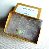 High Color Play Micro Ethiopian Welo Opal Round Stone Solitaire Pendant Necklace & 925 Sterling Silver or 14k Rose Gold Fill Chain Unique