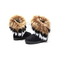 Womens Suede Snow Ankle Boots Faux Fur Tassel Flat Shoes