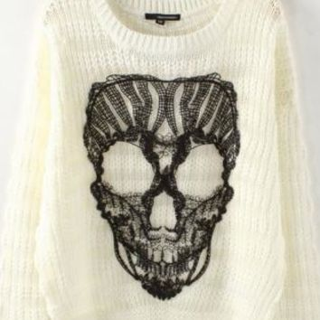 White Knit Sweater with Black Lace Skull Detail