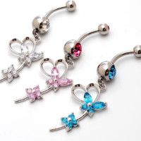 Fashion lovely flower and butterfly zircon belly button ring antiallergic Navel Belly Ring-0428-Gifts box