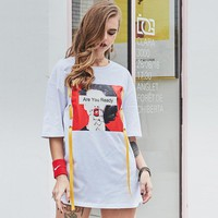 Summer household pajamas trendy short-sleeved are you ready red lip girls personality printing short t long