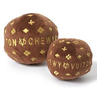 Brown Chewy Vuiton Ball Dog Toy - 2 sizes
