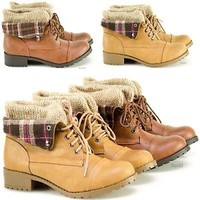 Women's Combat Military Ankle Boots Lace Up Faux Work Boot Fold Over Plaid New