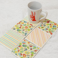 Eco-Friendly Chickadee Tile Coaster Set With Matching Striped Accents and Foam Backing (6) Dishwasher Safe