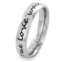 Stainless Steel 'True Love Waits' Cursive Script Ring (4.5 mm) - Size 6.0