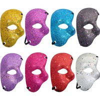 Gold powder Ball Mask Halloween Carnival Party Masquerade Opera Phantom Dance Bar Plastic Performance props Half Face Eye Mask
