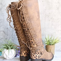 Very Volatile - Marcel Knee High Corset Boots in Tan/Leopard