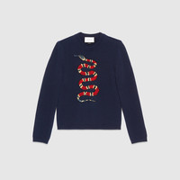 Gucci Snake jacquard wool sweater