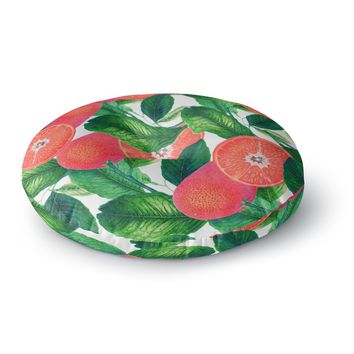 "83 Oranges ""Forbidden Fruit"" Coral Green Digital Round Floor Pillow"