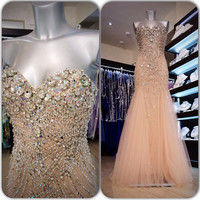Luxury Crystals Long Prom Dress 2017 Champagne Tulle Beaded Sweetheart Sparkly Floor Length Sleeveless Mermaid Prom Dresses