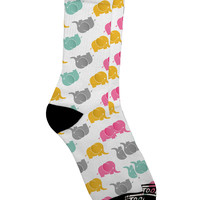 Cute Baby Elephants AOP Adult Crew Socks All Over Print
