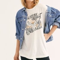 Country Roads Tee Shirt Oversized Style t-shirt Top Short Sleeve Round Neck Pullover Women Shirts Tee Tops Blusa