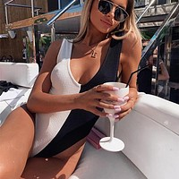 2020 new women's sexy black and white stitching one-piece bikini