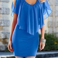 Blue V-Neck Flounce Chiffon Mini Dress