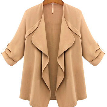 Apricot Long Sleeve Ruffled Coat