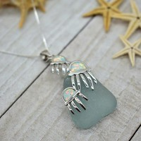 Genuine Sea glass Necklace, Beach Jewelry, 925 Sterling Silver, Beach Lovers Gift