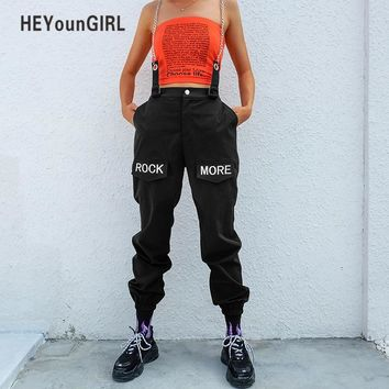 HEYounGIRL Hip Hop Patchwork Chains Pants Women Elastic High Waist Black Track Pants Capris Embroidery Letter Trousers Female