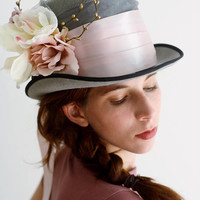 mad hatter top hat alice in wonderland top hat steampunk gray top hat hat blush magnolia flower top hat gothic top hat gold derby hat