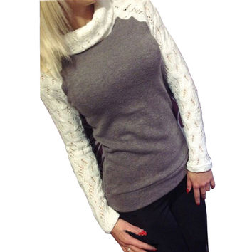 2016 European Women Fashion Sweater Autumn Winter Pullover Turtleneck Patchwork Lace Long Sleeve Jumper Knitted Tops Pull Femme