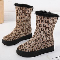 FENDI Winter Trending Women Warm Wool Abrasive Cloth Thick Sole Snow Boots Khaki Shoes
