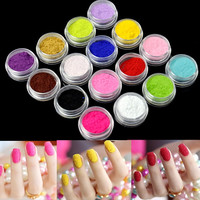 Nail Art Nail Powder Tips Fuzzy Flocking Velvet Tools 16 Colors+Tweezer New EP98