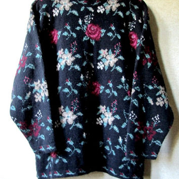 Oversized Sweater baggy slouchy loose floral roses flowers patterned pullover black burgundy multicolored vintage 80s 90s women large