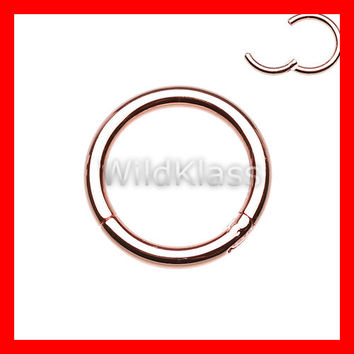 Rose Gold Hinged Clicker 16g Septum Ring Nose Hoop 14g Cartilage Earring Tragus Jewelry Helix Piercing Lip Ring Nipple Conch Earring Daith