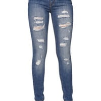 Bullhead Denim Co High Rise Skinniest Ripped Cerulean Tide Jeans at PacSun.com