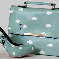 """Slim Turquoise hand painted """"Sky"""" bag for women - limited edition"""