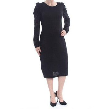 Calvin Klein Womens Puff Sleeve Sheath Sweaterdress
