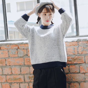 Color Block Ribbed Trim Oversized Knit Pullover Sweater