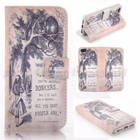 """Have I Gone Mad? Alice & Cheshire Cat Flip Wallet Case for iPhone 6 4.7"""""""