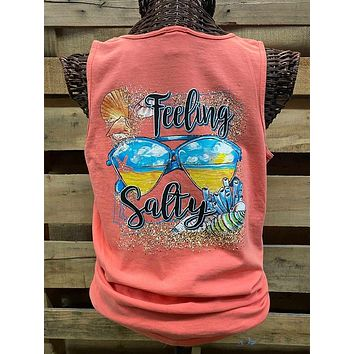 Southern Chics Apparel Feeling Salty Beach Comfort Colors Girlie Bright T Shirt Tank Top