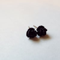 Tiny Black Rose Stud Earrings Stainless Steel Posts Small and Pretty Gift idea