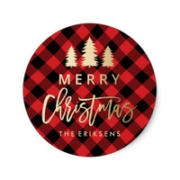 Cozy Plaid | Red and Black Buffalo Plaid Classic Round Sticker