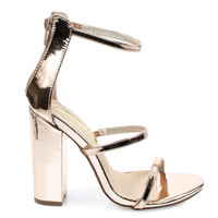 ilyse19 Rose Gold trio 3 strap gladiator open toe sandals on chunky block high heel