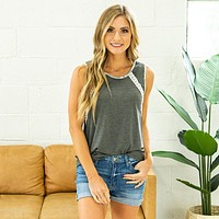 Daisy Charcoal, Floral and Lace Detail Tank
