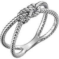 14K White Rope Knot Ring
