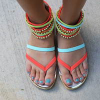 Beaded Beauty Sandals - Tangerine