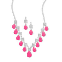 Pink Pear Drop Fashion Necklace and Earring Set